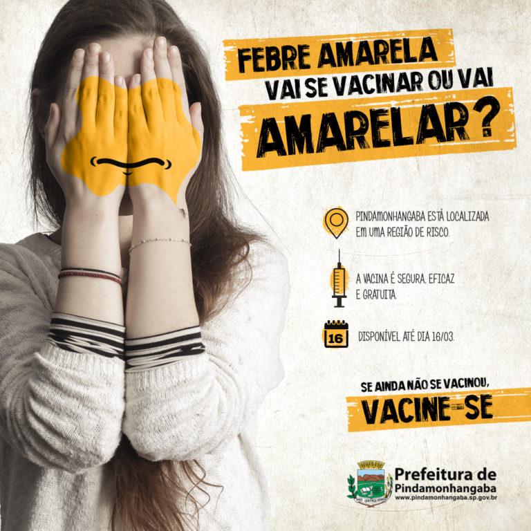 Cartaz Campanha Febre Amarela da Prefeitura de Pindamonhangaba criado pela agencia Verge Parceria estrategica