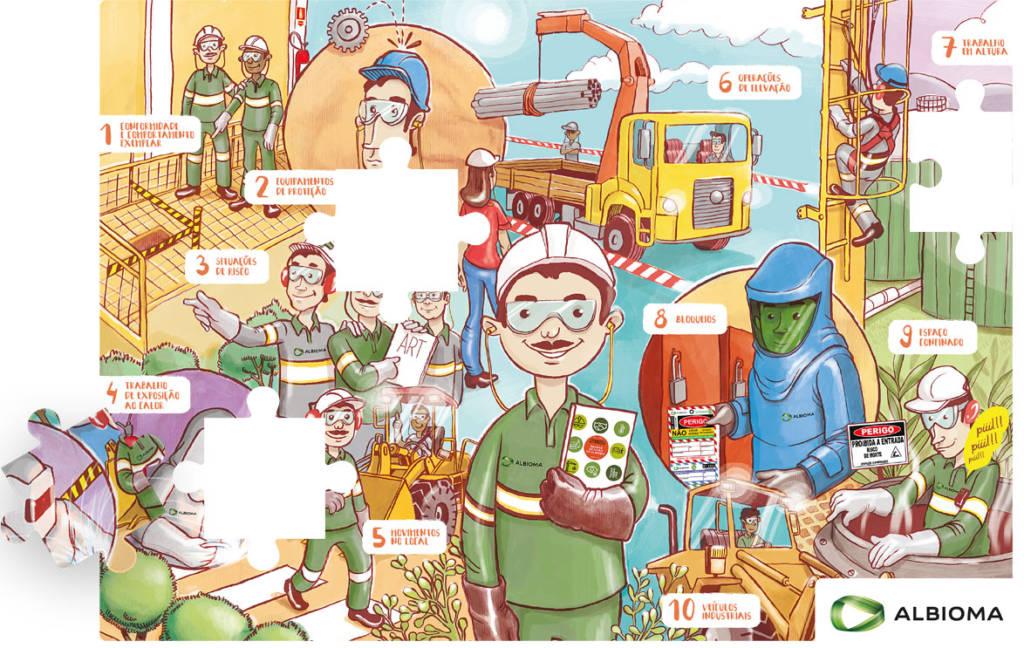 Quebra-cabeça da campanha de segurança da Albioma produzido e ilustrado pela Verge parceria estratégica - comunicação interna
