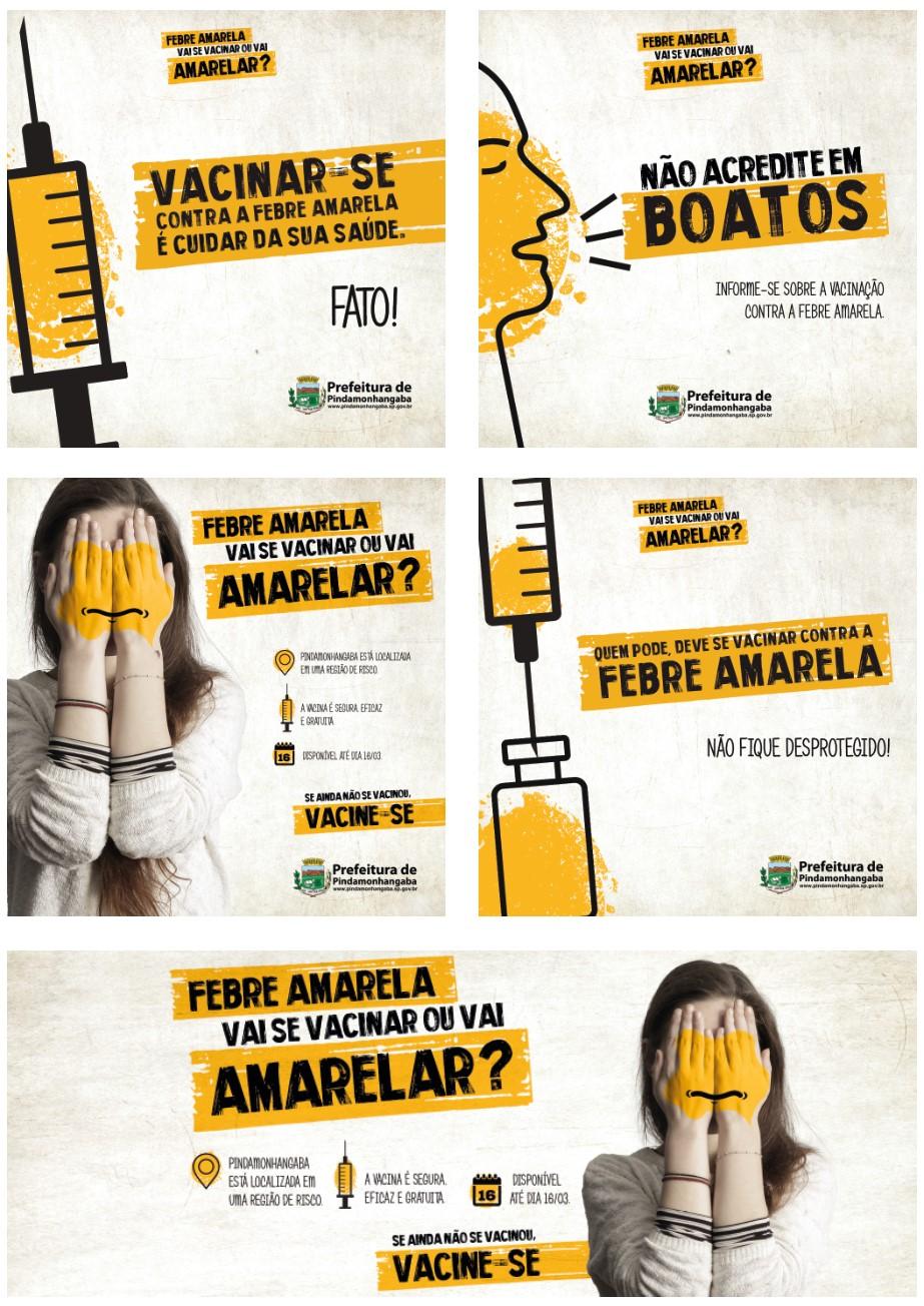 Peças da campanha contra febre amarela da Prefeitura de Pindamonhangaba produzida pela Verge Parceria Estratégica
