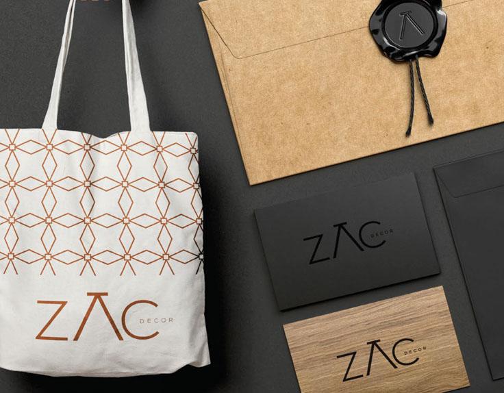 Branding – Mockups com aplicações da nova identidade visual da marca ZAC produzido pela Verge parceria estratégica